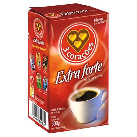CAFÉ TORRADO E MOÍDO EXTRA FORTE 3 CORACOES PACOTE 500g