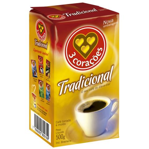 CAFÉ TORRADO E MOIDO TRADICIONAL  3 CORACOES PACOTE 500g