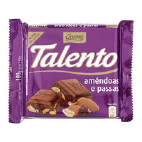 CHOCOLATE COM AMENDOA E UVA PASSA TALENTO GAROTO COM 100g