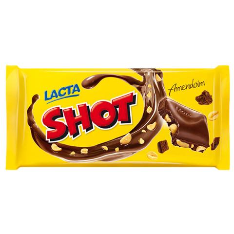 CHOCOLATE SHOT COM AMENDOIM LACTA BARRA 135g