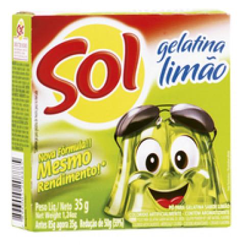 GELATINA EM PO SOL SABOR LIMAO CAIXA 35g