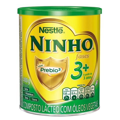 LEITE EM PO NINHO CRESCIMENTO PREBIO 3+ NESTLE LATA 400g