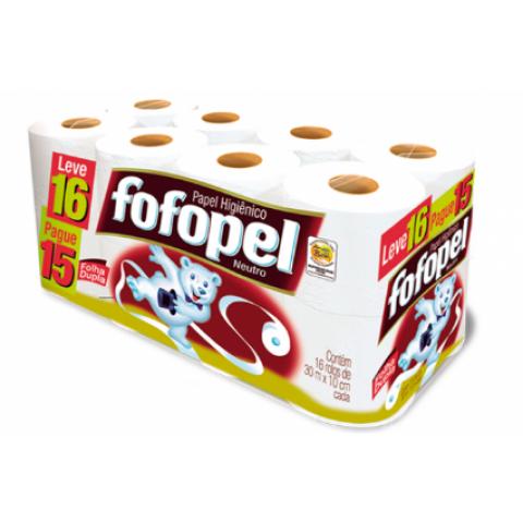 PAPEL HIGIENICO FOFOPEL FOLHAS DUPLAS 30m 16 rolos