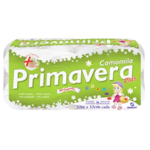 PAPEL HIGIENICO PRIMAVERA FOLHAS SIMPLES CAMOMILA 30m 8 rolos