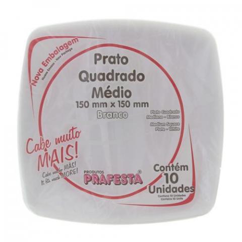 PRATO PLASTICO DESCARTAVEL QUADRADO BRANCO MEDIO 10Unidades