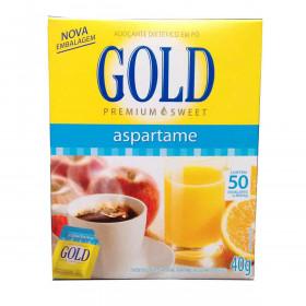 ADOCANTE EM PO DIETETICO ASPARTAME GOLD 40gr COM 50 ENVELOPES 800mg