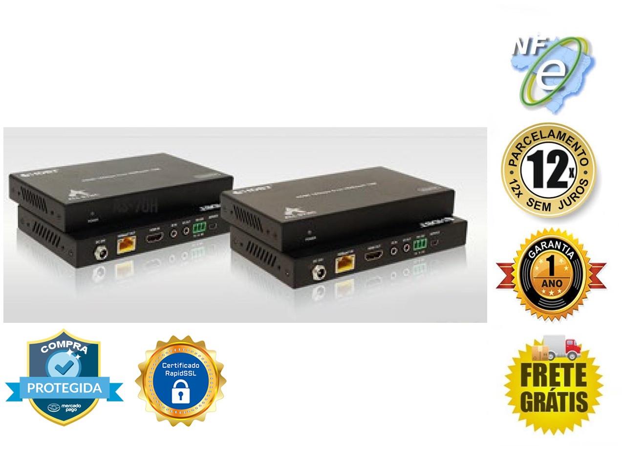 EXTENDER DE VIDEO HDMI Hdbaset 4k@60Hz UHD 70M CATat5e/6 AS-EX70H