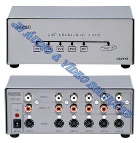 DISTRIBUIDOR DE S-VIDEO (S-VHS) COM AUDIO 1-IN X 5-OUT DVS1X5