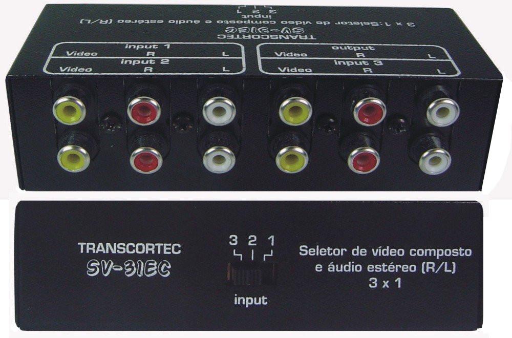 SELETOR DE VIDEO COMPOSTO+AUDIO ESTÉREO(L/R)  3-IN X 1-OUT - SV31EC