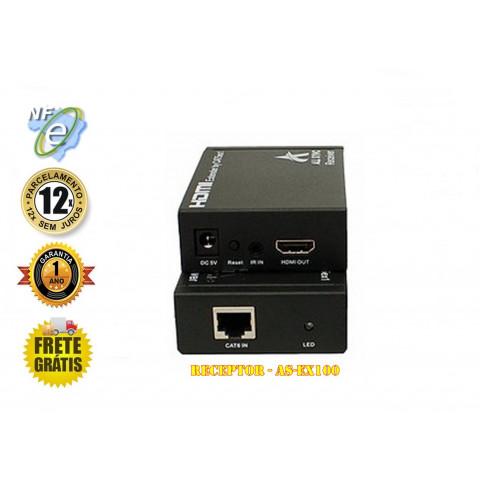 EXTENDER RECEPTOR DE VIDEO HDMI ATÉ 100MTS VIA CAT5/6 TCP/IP - AS-EX100 (RX)