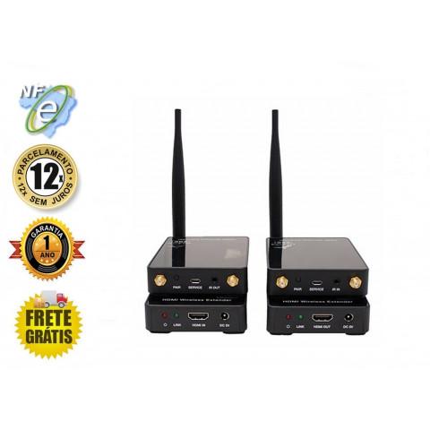 EXTENDER DE VIDEO HDMI FULL HD WIRELESS COM IR ATÉ 100MTS AS-EXW (KIT COM TRANSMISSOR E RECEPTOR)