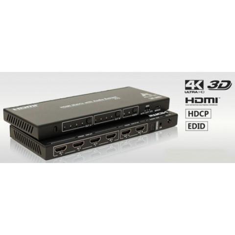 MATRIZ DE VIDEO HDMI 4K@60Hz 4-IN X 2-OUT  C/ EXTRAÇÃO DE AUDIO E CONTROLE REMOTO  AS-MX42