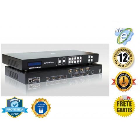 MATRIZ DE VIDEO HDMI UHD 4K@60Hz 4-IN X 4-OUT  C/ EXTRAÇÃO DE AUDIO E CONTROLE REMOTO  AS-MX44-2.0
