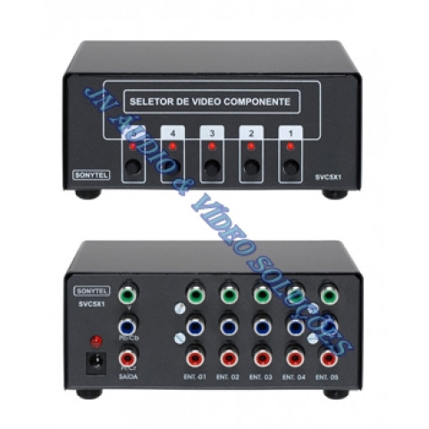 CHAVEADOR DE VIDEO COMPONENTE SEM AUDIO 5-IN X 1-OUT SVC5X1
