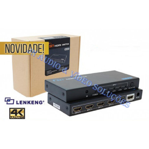 CHAVEADOR DE VIDEO HDMI HDMI UHD 4K*2K 5-IN X 1-OUT LEN-LKV501E