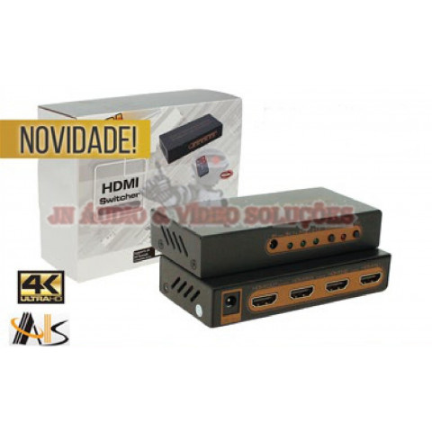 CHAVEADOR DE VIDEO HDMI UHD 4K*2K 3-IN X 1-OUT SUPORTA HDR ASK-HDSW0014M1
