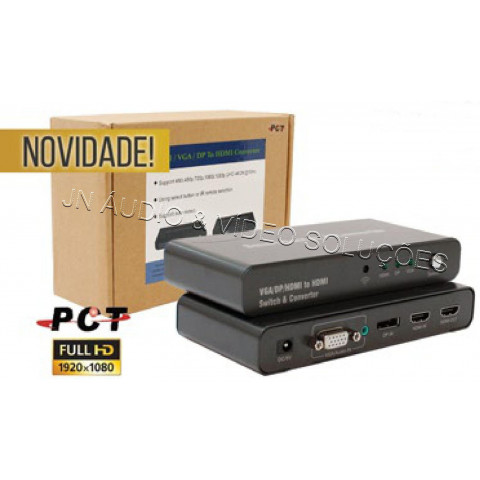 CONVERSOR SELETOR COM 3-IN (HDMI / VGA / DP) X 1-OUT HDMI - PCT-DHV301