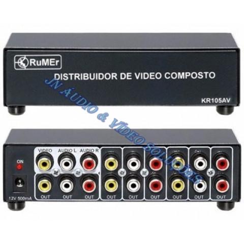 DISTRIBUIDOR DE VIDEO COMPOSTO COM AUDIO (L/R) 1-IN X 5-OUT KR105