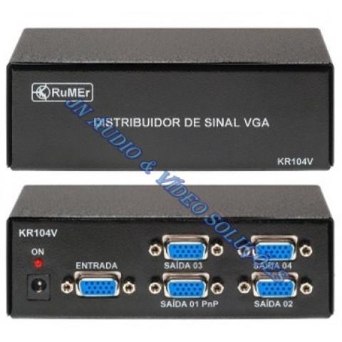 DISTRIBUIDOR DE VIDEO VGA / SVGA 1-IN X 4-OUT (RES.250MHz) KR104