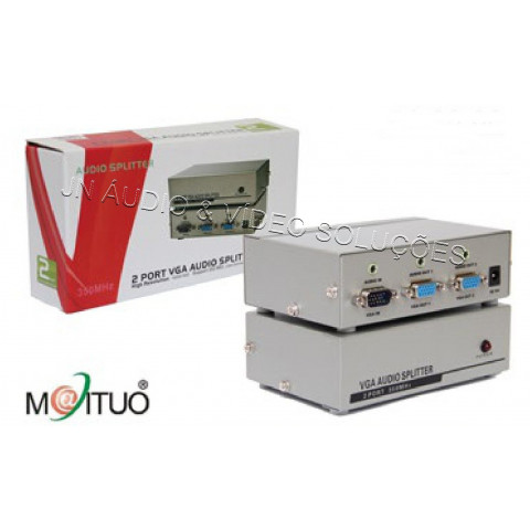 DISTRIBUIDOR DE VIDEO VGA / XVGA+AUDIO 1-IN X 2-OUT RESOLUÇÃO 1920X1440 - SWH-MT3502AV