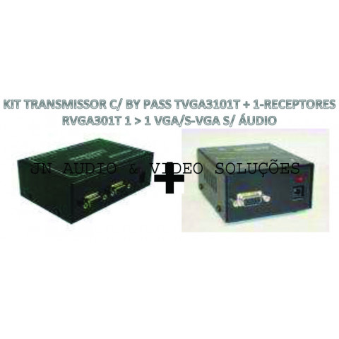 EXTENDER DE VIDEO C/ BY PASS VGA/SVGA ATÉ 100MTS VIA CAT5/6FTP - TVGA3101T+01-RVGA301T (KIT COM TRANSMISSOR E RECEPTOR)
