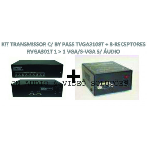 EXTENDER DE VIDEO C/ BY PASS VGA/SVGA ATÉ 100MTS VIA CAT5/6FTP - TVGA3108T+08-RVGA301T (KIT COM TRANSMISSOR E RECEPTORES)