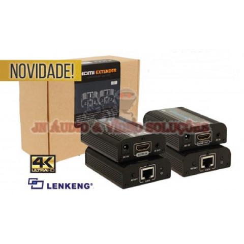 EXTENDER DE VIDEO HDMI UHD 4K 60Hz C/ IR ATÉ 60MTS VIA CAT6/7 LEN-LKV672