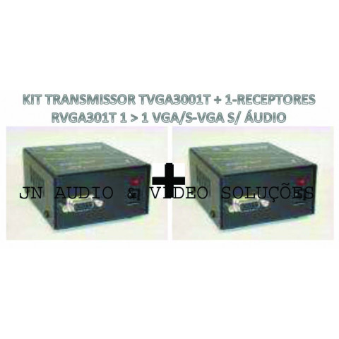 EXTENDER DE VIDEO VGA/SVGA ATÉ 100MTS VIA CAT5/6FTP - TVGA3001T+01-RVGA301T (KIT COM TRANSMISSOR E RECEPTOR)