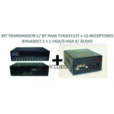 EXTENDER DE VIDEO VGA/SVGA ATÉ 100MTS VIA CAT5/6FTP - TVGA3112T+12-RVGA301T (KIT COM TRANSMISSOR E RECEPTORES)