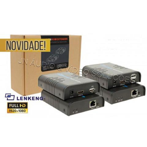 EXTENDER KVM HDMI 1080P USB PARA 120MTS VIA CAT.5/6 - LEN-LKV373KVM (KIT TRANSMISSOR & RECEPTOR)