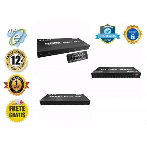MATRIZ DE VIDEO HDMI 3D 1080P 4K@30Hz 8-IN X 8-OUT COM RS232  HDMX8X8-V1.4