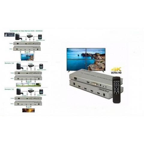 CONTROLADOR DE VÍDEO WALL DVI, HDMI 4K_2K 2 X 2 HDMI - HD-VW2X2