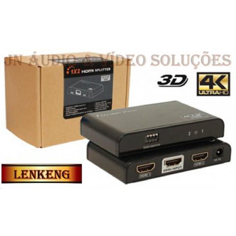 DISTRIBUIDOR DE VIDEO HDMI 2.0 UHD C/ FUNÇÃO EDID 1-IN X 2-OUT  LEN-LKV312EDID-V2.0