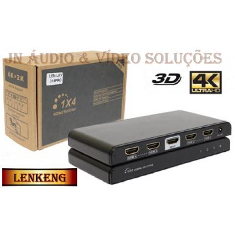 DISTRIBUIDOR DE VIDEO HDMI 2.0 UHD C/ FUNÇÃO EDID 1-IN X 4-OUT LEN-LKV314EDID-V2.0