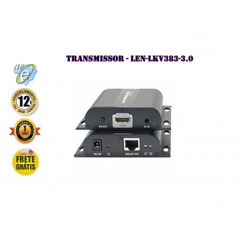 RECEPTOR EXTENDER DE VIDEO HDMI HDBIT 3.0 + IR ATÉ 100/120mts VIA CAT 5/6 - LEN-LKV383(RX)