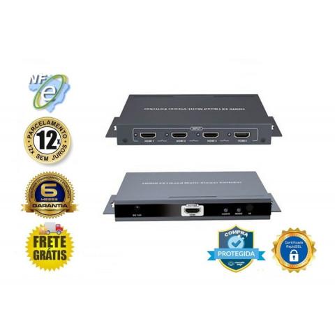 CHAVEADOR DE VIDEO QUAD MULTI VIEWER HDMI 4-IN X 1-OUT LEN-LKV401MS