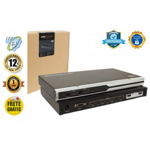 MATRIZ DE VIDEO HDMI 1080p, 3D, 4K 4-IN X 2-OUT SAIDAS INDEPENDENTES C/ CONTROLE REMOTO - LEN-LKV412-V2.0