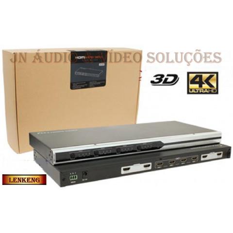 MATRIZ DE VIDEO HDMI 1080p, 3D, 4K 4-IN X 4-OUT SAIDAS INDEPENDENTES C/ CONTROLE REMOTO - LEN-LKV414