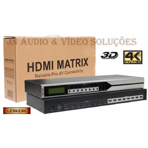 MATRIZ DE VIDEO HDMI 1080p, 3D, 4K 8-IN X 8-OUT SAIDAS INDEPENDENTES C/ CONTROLE REMOTO - LEN-LKV818