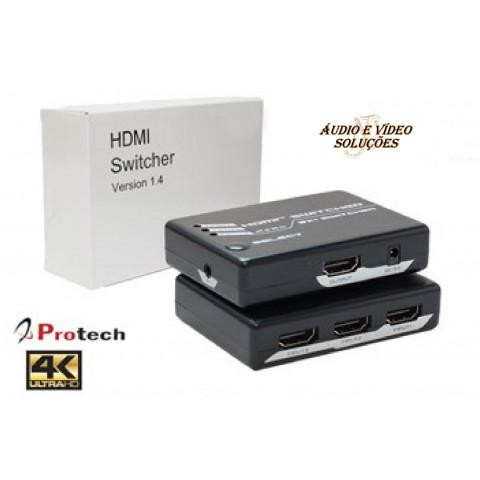 CHAVEADOR DE VIDEO HDMI 4K@60Hz 3-IN Xx1-OUT AUTOMÁTICO PE-2PET0301S