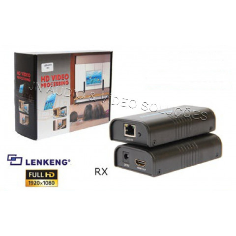 RECEPTOR EXTENDER DE VIDEO HDMI 2.0 ATÉ 100/120mts VIA CAT 5/6 - LEN-LKV373(RX)