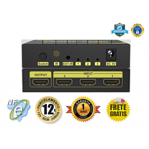 CHAVEADOR DE VIDEO HDMI UHD V2.0 4K 60HZ 3-IN X 1-OUT SW-HM231