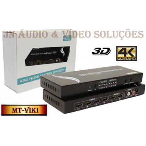 MATRIZ DE VIDEO HDMI UHD 4K*2K 4-IN X 2-OUT COM EXTRATOR DE AUDIO(R/L) SWH-MT-HD4X2