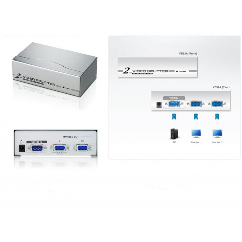 DISTRIBUIDOR DE VIDEO VGA DE 2 PORTAS (350 MHz)  VS92A