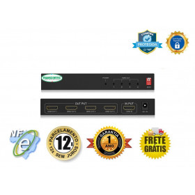 DISTRIBUIDOR DE VIDEO HDMI HDR 4K@60HZ 1-IN X 4-OUT COM FUNÇÃO EDID SP-HM214