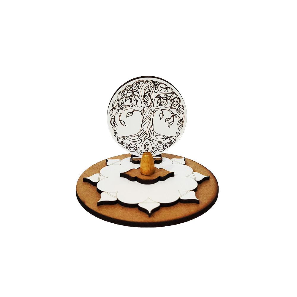 ME5904-12 - Incensário Redondo Madeira Árvore da Vida Branco
