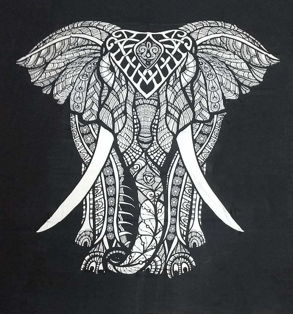 JMD806-18 - Manta Indiana Preta com elefante branco