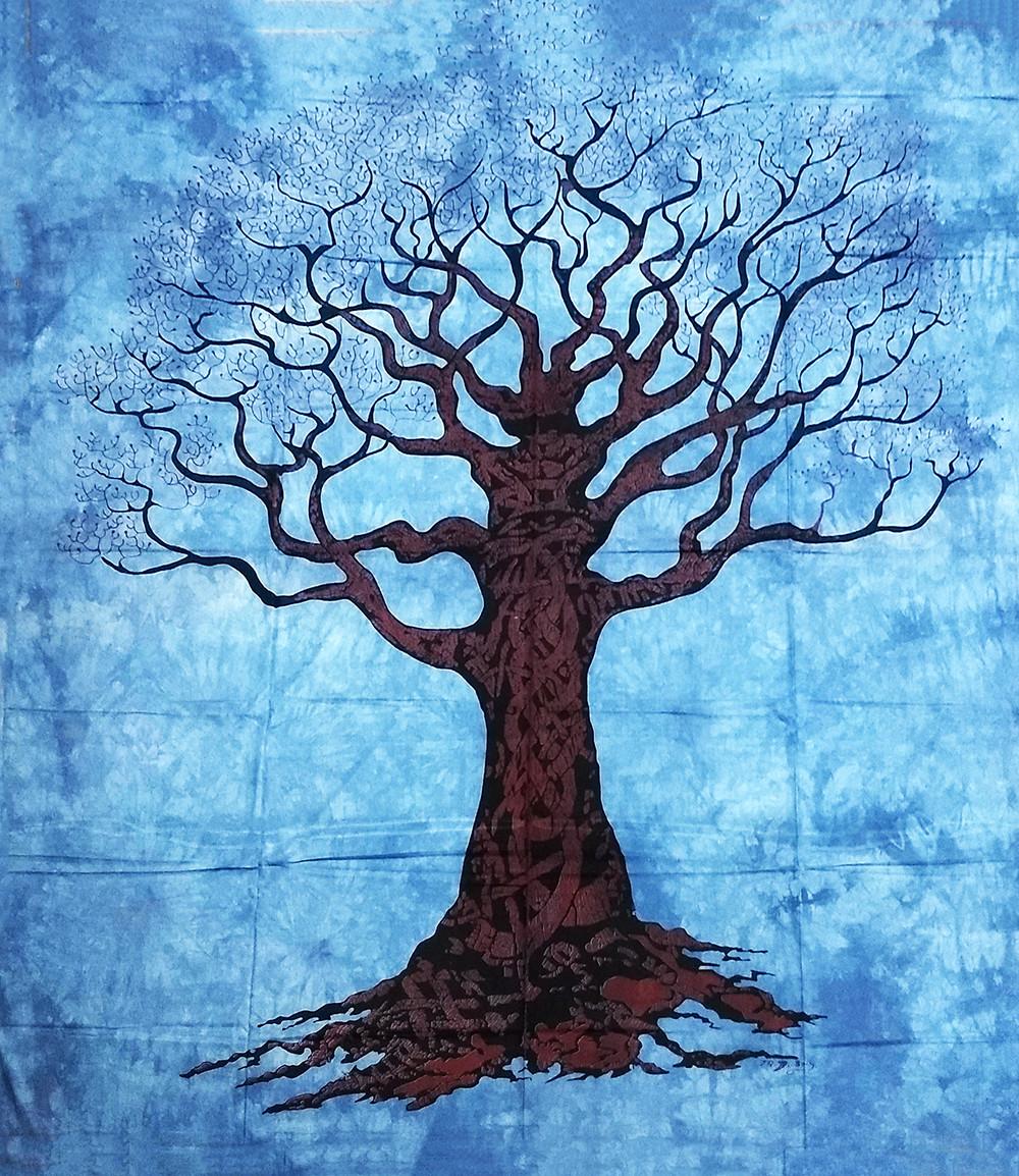 JMD806-35 -Manta Indiana Árvore Galhos Azul Escuro