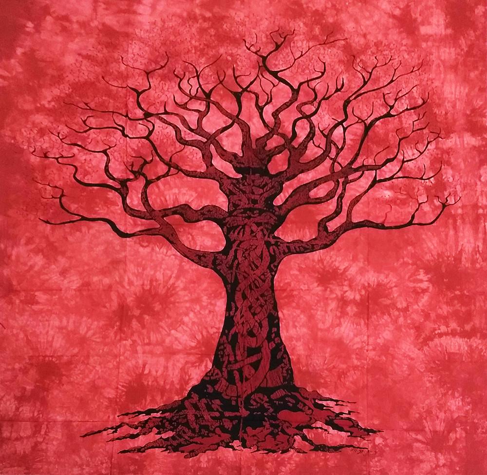 JMD806-40 - Toalha Indiana Árvore Galhos Vermelha