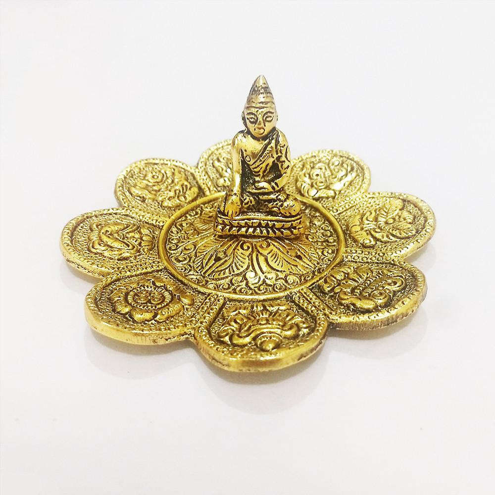 DH146D- Incensário  Metal Circular Buda Tailandês Flor